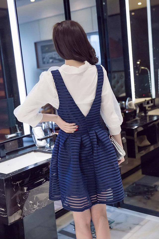 【蝴蝶结领衬衫+修身背心连衣裙】-衣服-服饰鞋包