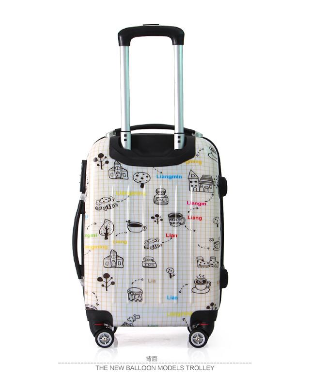 【亮鸣个性印花简笔画万向轮拉杆箱学生时尚行李箱箱-行李箱简笔画