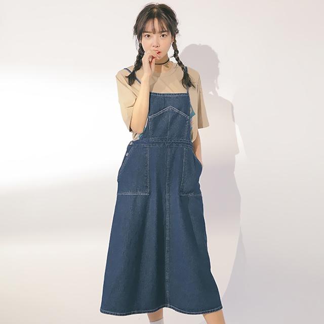 【软妹纸大衣袋牛仔背带裙】-衣服-裙子_连衣裙_服饰