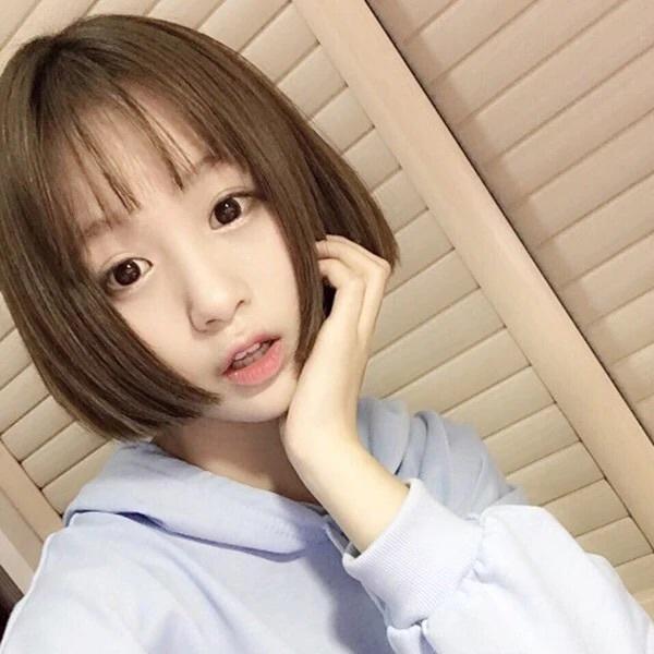 短发bobo韩国短直发空气齐刘海波波头微卷内扣发