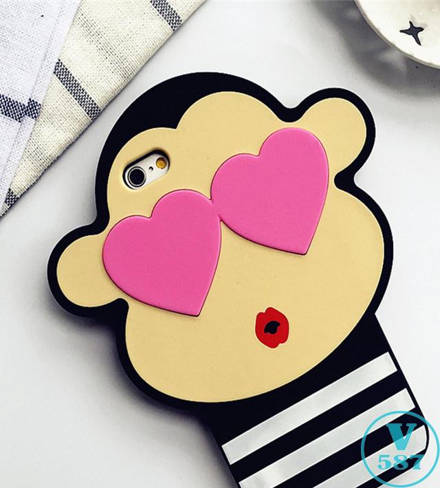 【韩国代购立体猴子爱心眼睛条纹大嘴猴iphone6