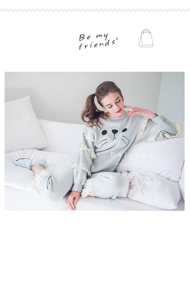 韩国官网同款春秋季纯棉毛圈长袖睡衣萌萌哒小海豹可爱家居服