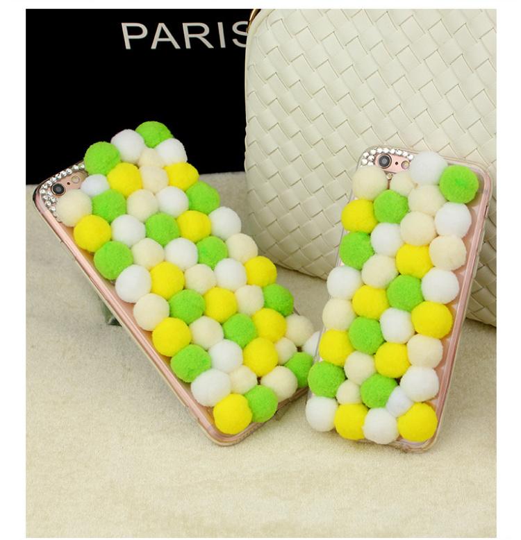 iphone6splus彩色毛线球手机壳苹果保护套软边韩版