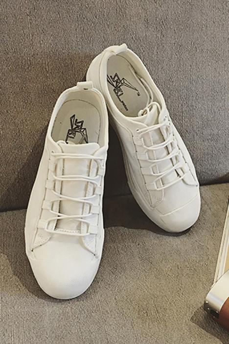【衣旧起义】四季百搭交叉鞋带压线低帮帆布鞋