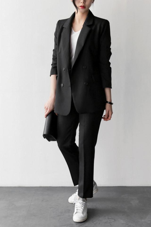 uptownholic-2016春季韩版大气竖条纹西装夹克