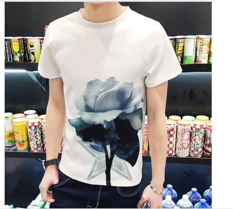 2106春夏男士新款太空棉荷花图案短袖t恤