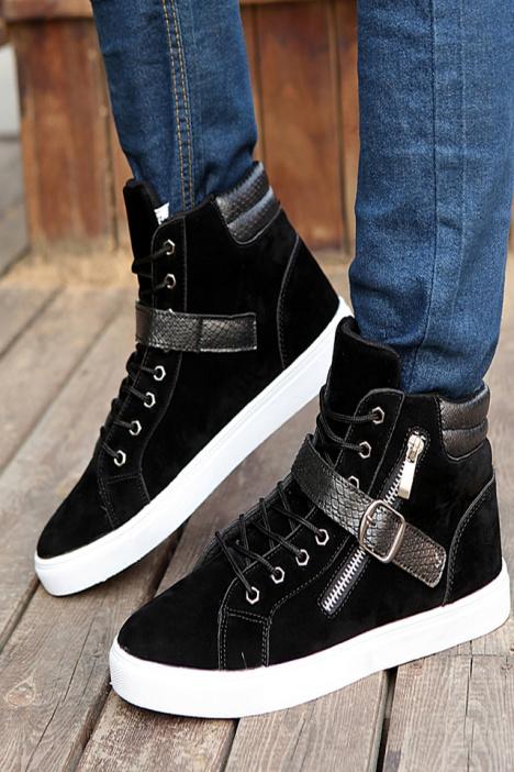 欧美新款真皮休闲短靴厚底高帮男鞋英伦男靴潮流马丁靴