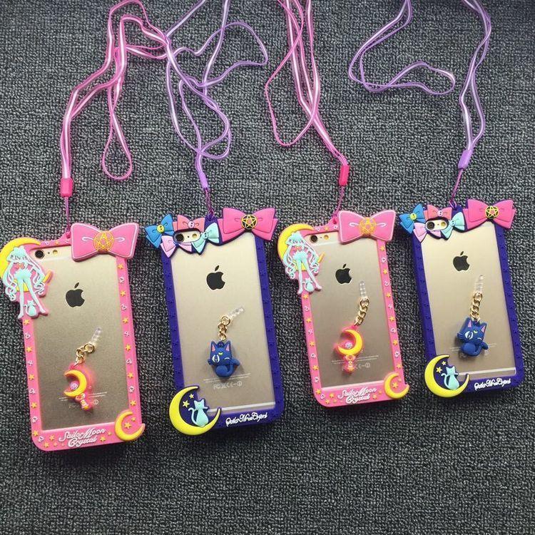 【卡通美少女战士硅胶边框苹果6s手机壳6plus