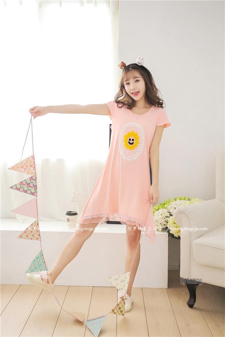 【小清新夏季短袖新款可爱韩版睡衣睡裙】-内衣-女士