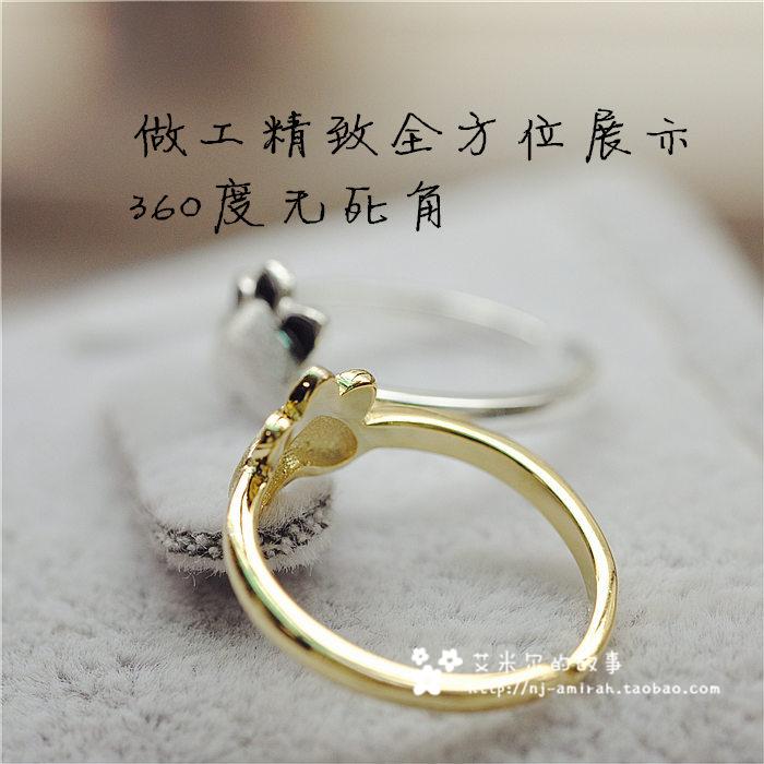 925银戒指女甜美可爱超萌猫爪戒指创意动物原创设计戒指环包邮