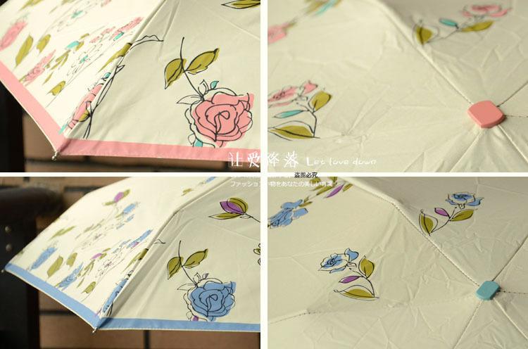 小清新手绘花朵黑胶防晒五折伞