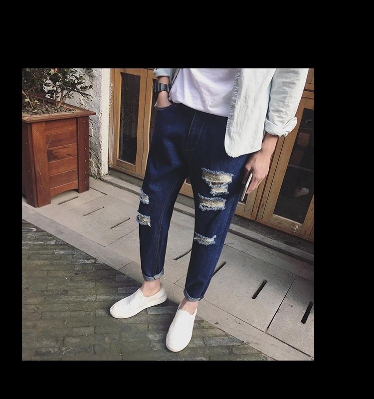 【直筒大破洞潮男哈伦牛仔裤】-男装-牛仔裤