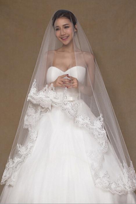 新娘白色头纱超长婚纱头纱结婚礼服蕾丝亮片拖地3米韩式拖尾头纱