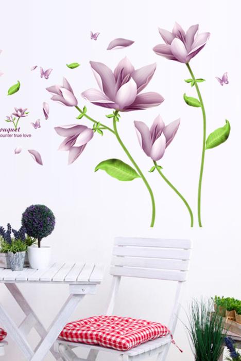 浪漫紫色花卉墙贴画