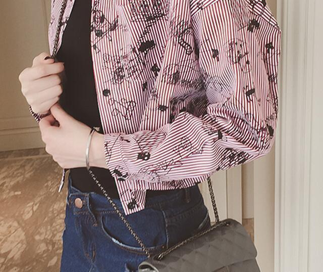 【春上新78手绘印花小清新宽松衬衫】-衣服-衬衫
