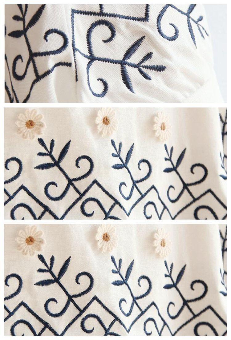 【森女可爱日系清新宽松刺绣花朵白色短袖棉麻连衣裙