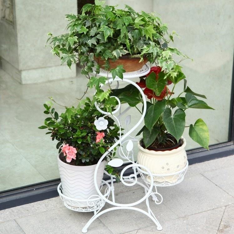 【欧式铁艺多层阳台室内客厅花架】-家居-架类