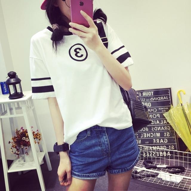 【夏季原宿bf风女生短袖t恤】-衣服-t恤