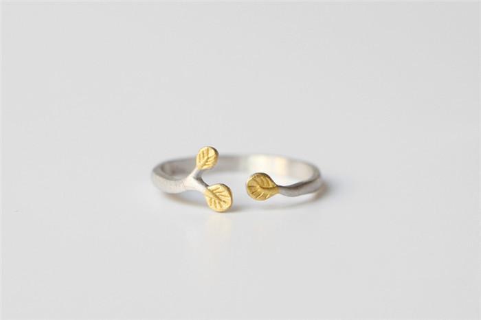 s925纯银可爱树叶子戒指 女