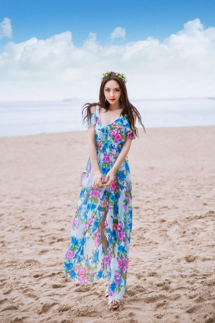 小清新荷叶边花色波西米亚雪纺长裙
