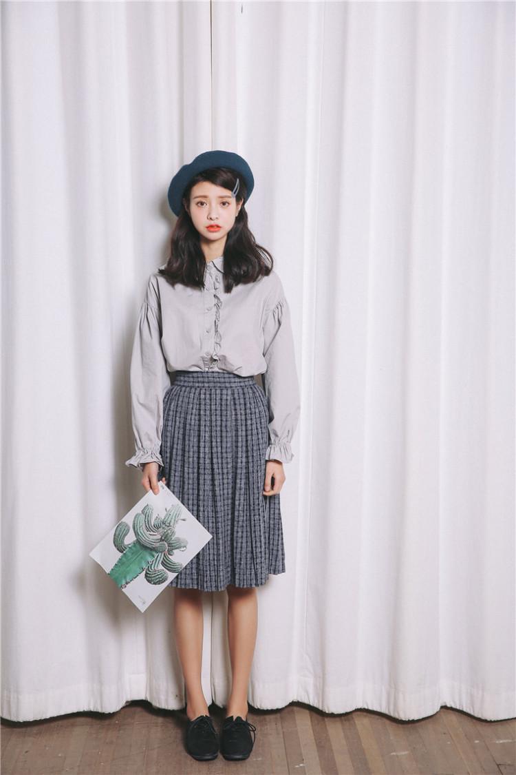 【木耳花边灯笼袖长袖衬衫】-衣服-服饰鞋包