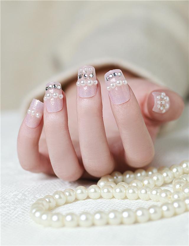 新娘美甲假指甲贴片24片图片