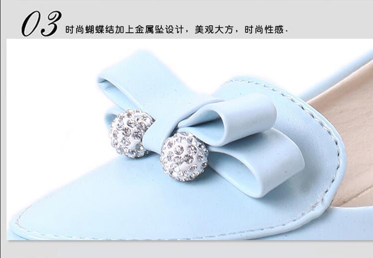 【韩版学院风时尚蝴蝶结串珠尖头浅口坡跟单鞋】