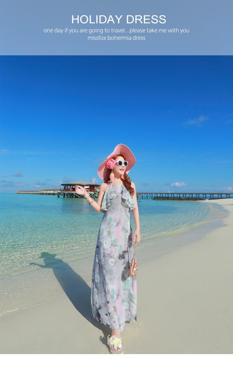 海边度假新品荷叶边露肩雪纺显瘦吊带长裙