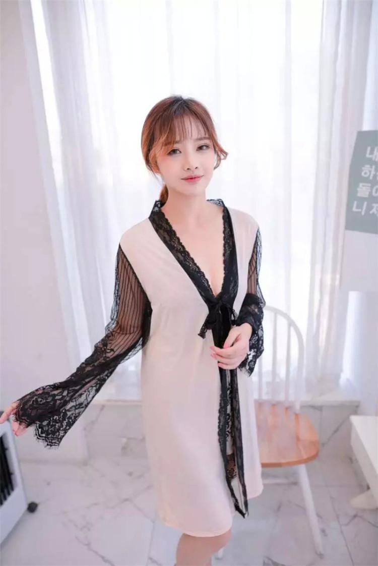 【蕾丝性感两件套真丝睡裙】-衣服-女士内衣/家居服