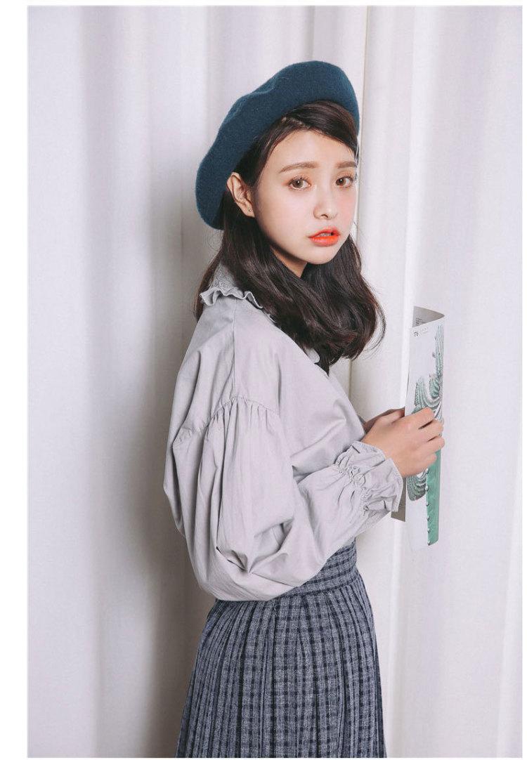 【学院风灯笼袖木耳花边衬衫】-衣服-服饰鞋包