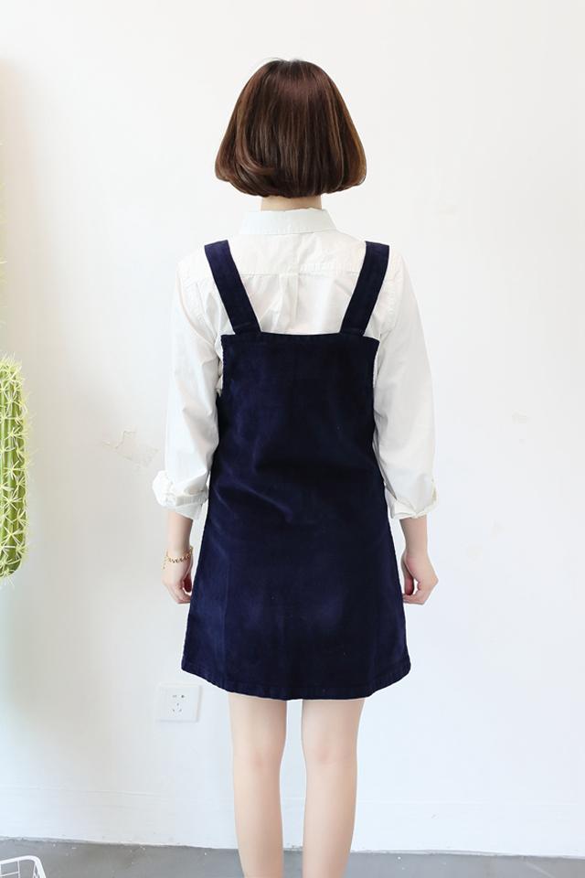 夏季新款 学院风灯芯绒口袋胸针可爱背带裙
