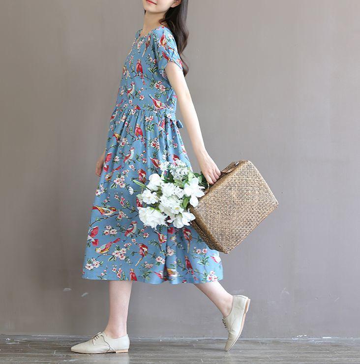 复古风连衣裙短袖棉麻大摆森系长裙