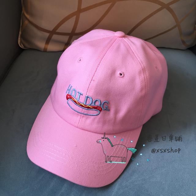 韩国原宿风林小宅同款粉色hot dog热狗软妹刺绣弯檐棒球帽