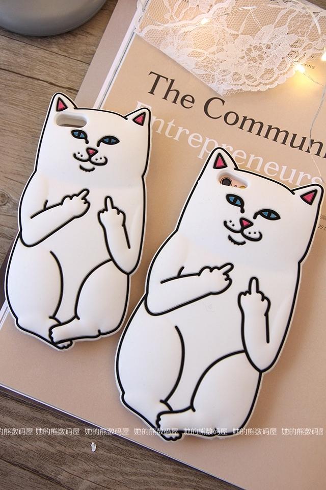 她的熊中指猫潮牌贱猫iphone6s手机壳