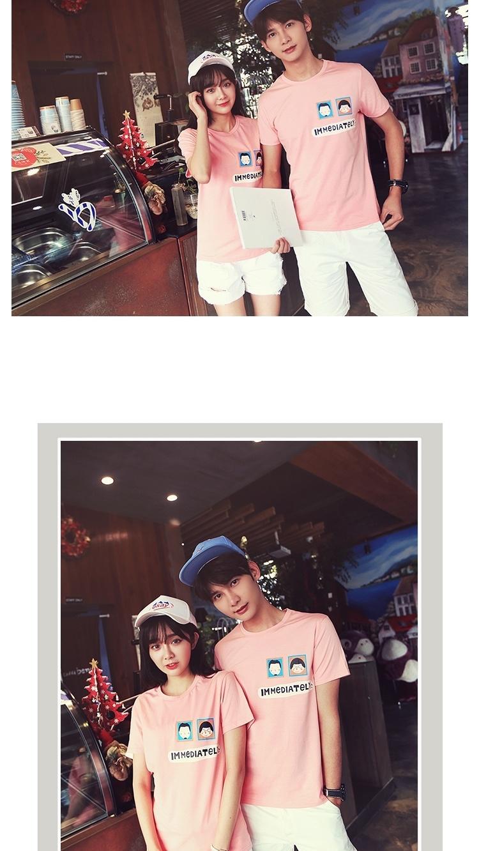 【韩版潮流男女情侣装卡通印花头像亮色圆领棉短袖