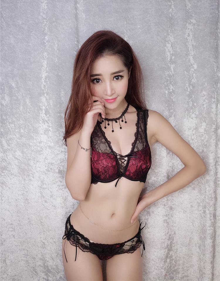 【性感蕾丝美背拉b少女聚拢文胸内衣套装】-内衣