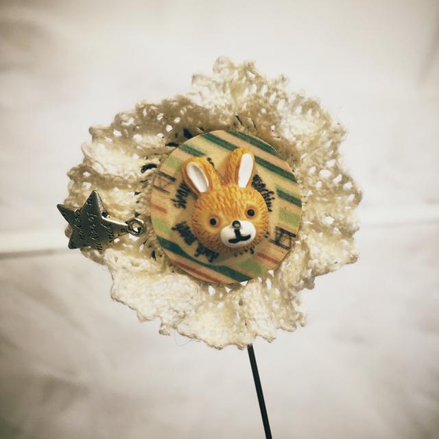 韩国原单饰品 复古萌萌童趣手工制作花边蕾丝卡通动物胸针别针
