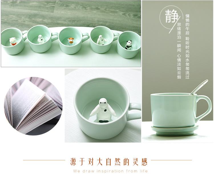 【3d卡通陶瓷情侣杯子立体萌物咖啡杯可爱立体动物杯