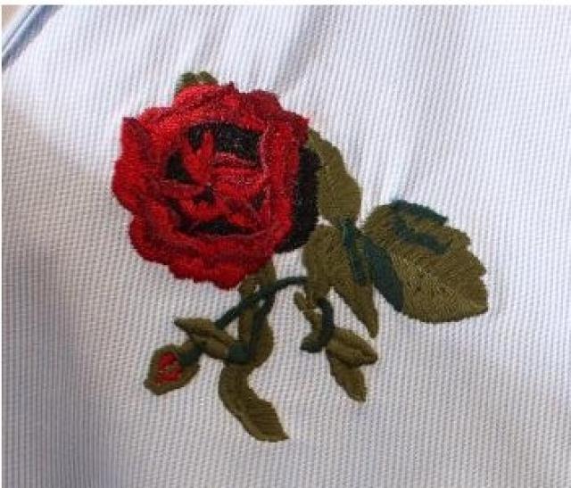 杨幂时尚机场玫瑰花朵刺绣衬衫