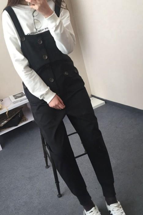 【韩版学院风工装扣子口袋背带裤】-衣服-裤子