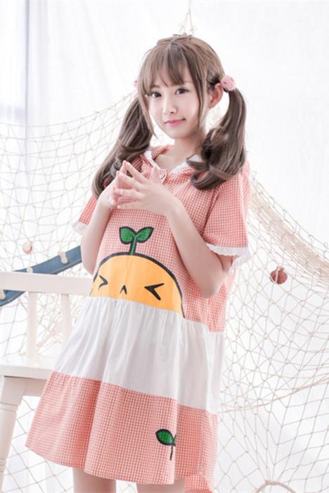 【lace girl】甜美百搭软妹可爱格子卡通连帽连衣裙女