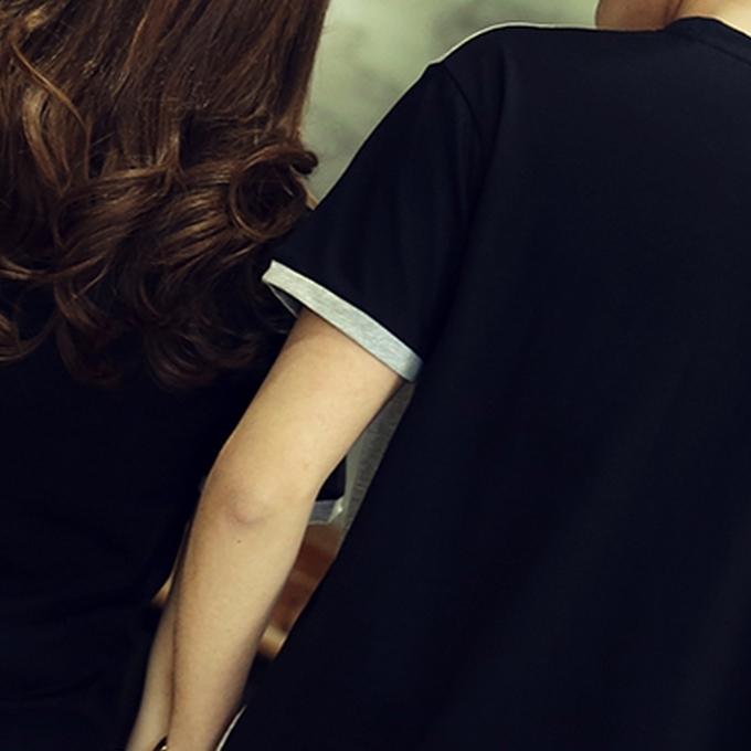 简约黑白配情侣t恤