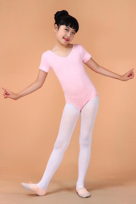 秋春短袖女童芭蕾舞服连体练功服儿童芭蕾服装形体服体操服