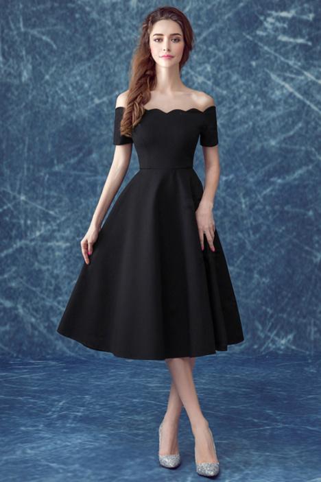 【性感一字肩 黑色短款小礼服连衣裙】-衣服-裙子__鞋图片