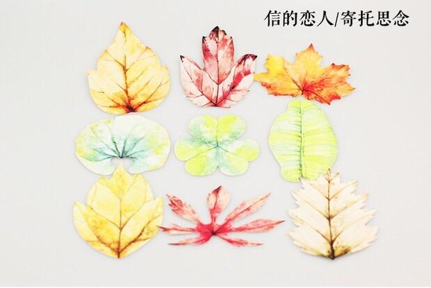 信的恋人明信片手绘异形树叶书签古风创意贺卡片