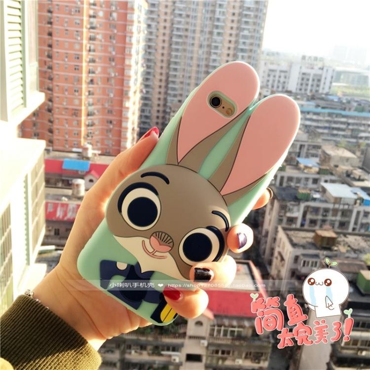 动物城朱迪兔全包立体软胶iphone苹果手机壳