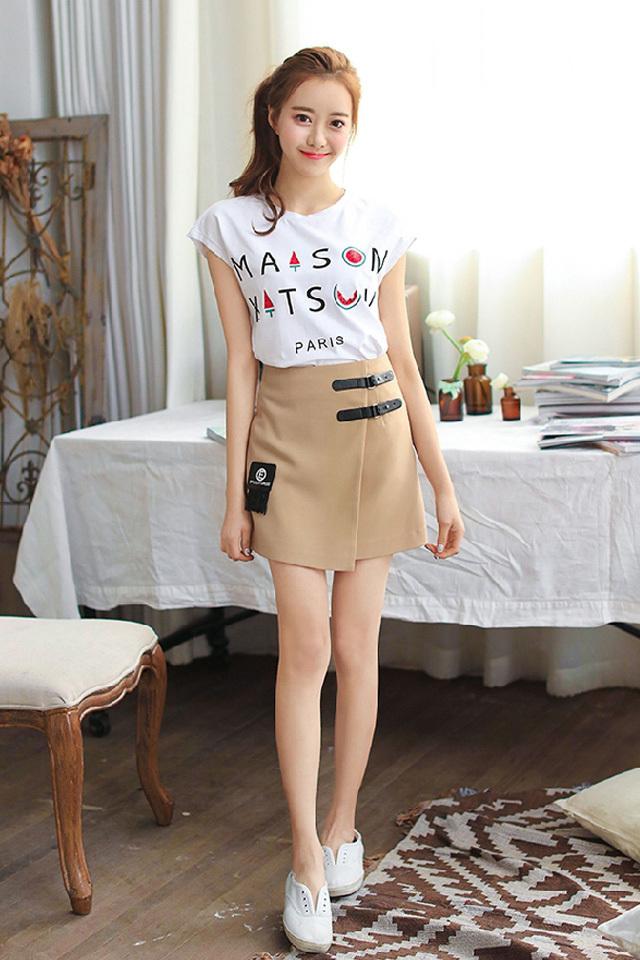杨颖同款修身直筒无袖字母t恤 休闲短裙
