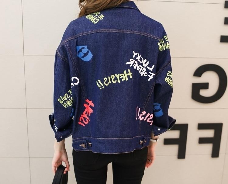 【韩版新款手绘涂鸦宽松牛仔外套】-衣服-牛仔外套