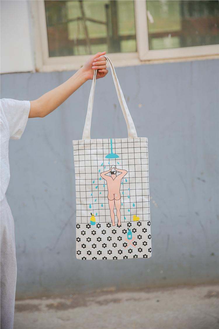 文艺小清晰女包单肩印花帆布包系带布袋手绘手提包