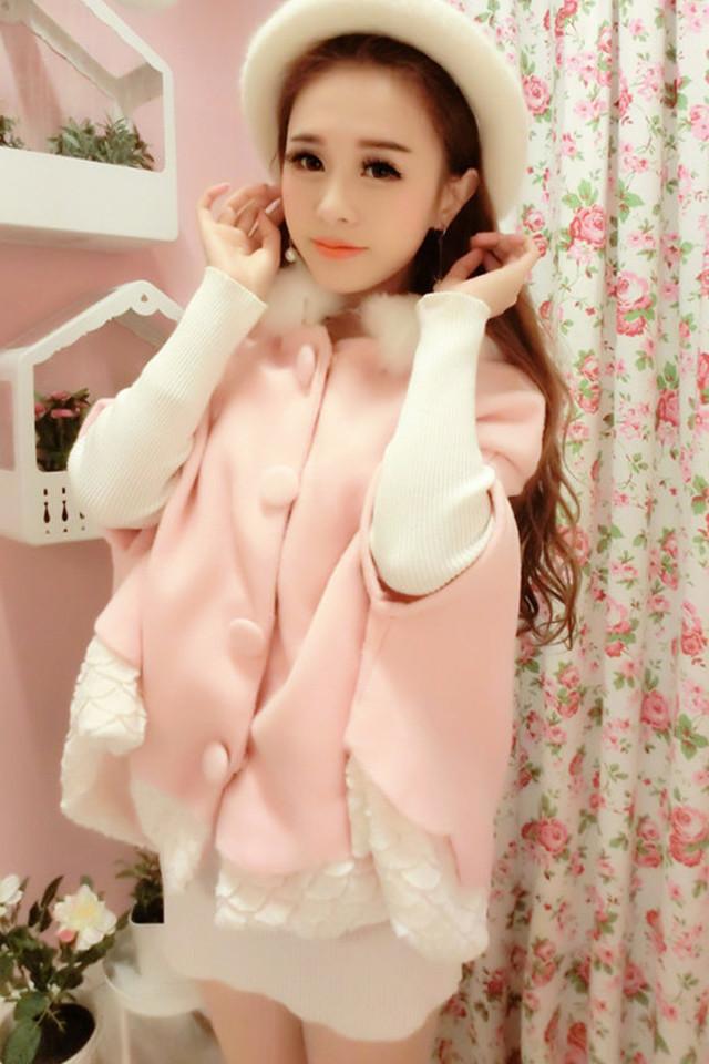 2015秋冬甜美可爱日系公主粉色毛领带帽拼接加绒斗篷毛呢外套